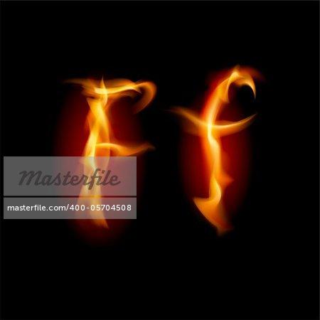 Fiery font. Letter F. Illustration on black background