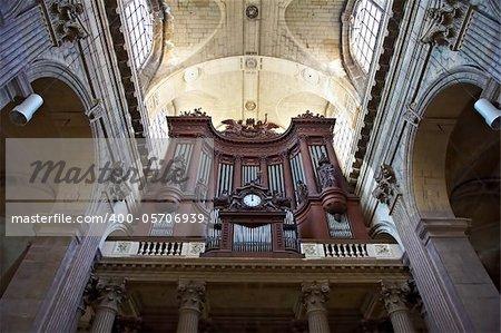 Big Wooden Organ in the Gothic Church in Paris