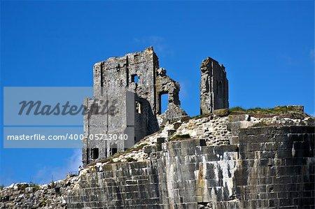 Ruins of Corfe Castle in Dorset UK