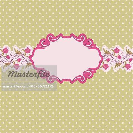 Template frame design for greeting card . Floral design. In vintage style.