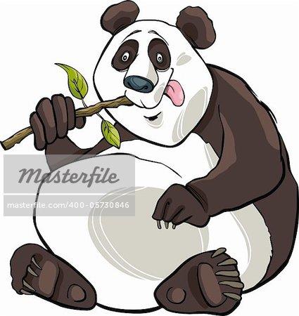 cartoon illustration of funny giant panda bear