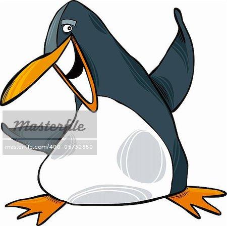 cartoon illustration of happy funny emperor penguin