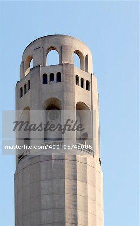 Closeup of the historical Coit Tower in San Francisco, California