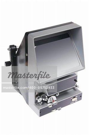 Vintage Film Editing Machine on White Background