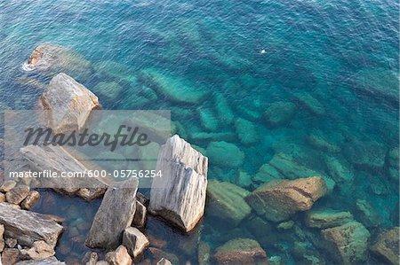 Rivage, Riomaggiore, Cinque Terre Parc National des Cinque Terre, Province de La Spezia, Ligurie, Italie