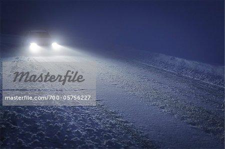 Car of Winter Road, Sulzberg, Bregenz, Austria