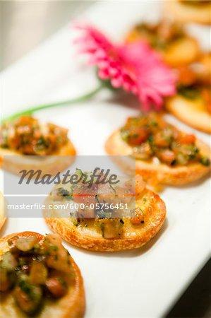 Bruschetta Appetizers at Wedding