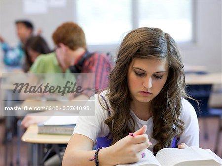 USA, Utah, Spanish Fork, School girl (14-15) working in classroom