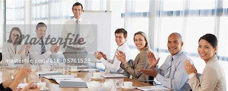Geschäftsleute, Beifall für die Präsentation