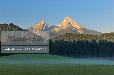 Watzmann-Berg bei Sonnenaufgang, Nationalpark Berchtesgaden, Oberbayern, Deutschland