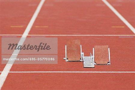 Starting blocks on running track