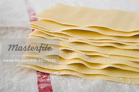 Frische hausgemachte Lasagne-Blätter