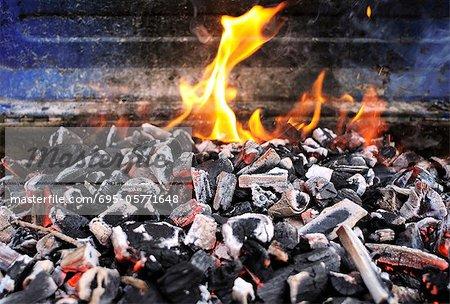 Charbon de bois brûlant sur la grille du barbecue
