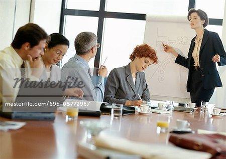 Groupe de gens d'affaires dans la salle de conférence, femme d'affaires pointant au jury de présentation