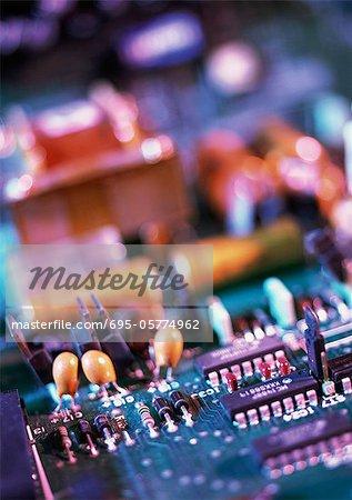 Circuits imprimés, flou, gros plan