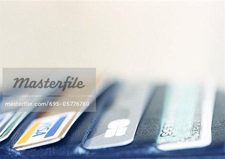 Cartes de crédit dans le portefeuille, gros plan