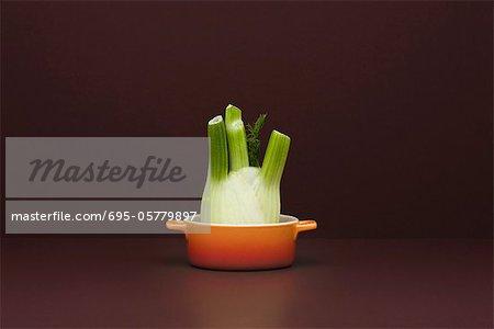 Food Konzept, frischer Fenchel in kleinen Topf
