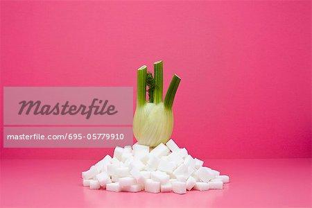 Concept de restauration, fenouil frais sur pile de cubes de sucre