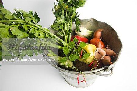 Celeriac and assorted vegetables in bucket