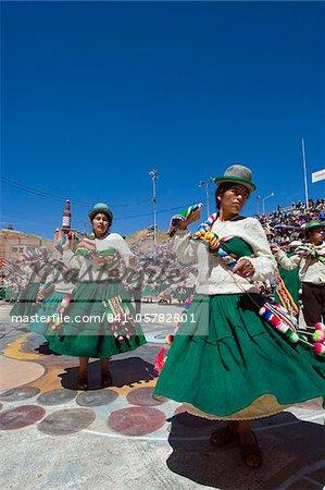 Women dancing at Anata Andina harvest festival, Carnival, Oruro, Bolivia, South America
