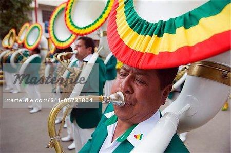 Sousophone players at Oruro Carnival, Oruro, Bolivia, South America
