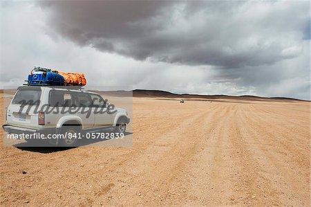 Quatre roues tour du désert de lecteur dans l'altiplano en désert, Bolivie, Amérique du Sud