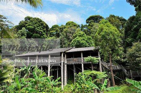 Maison traditionnelle, le Village culturel de Sarawak, Sarawak, Bornéo, Malaisie, Asie du sud-est, Asie