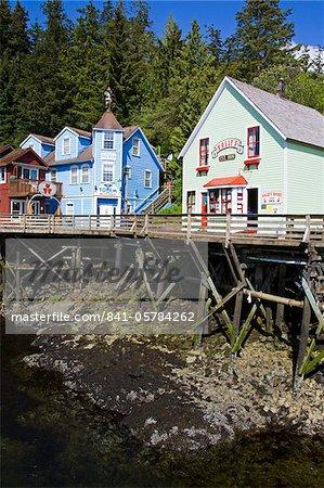 Quartier historique rue du ruisseau, Ketchikan, sud-est de l'Alaska, aux États-Unis, en Amérique du Nord