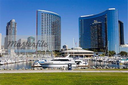 Embarcadero Marina Park et Marriott Hotel, San Diego, Californie, États-Unis d'Amérique, l'Amérique du Nord