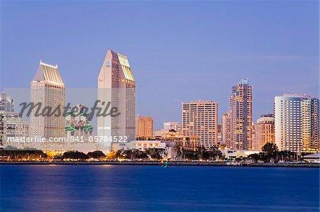 Skyline de San Diego de l'île de Coronado, San Diego, Californie, États-Unis d'Amérique, Amérique du Nord