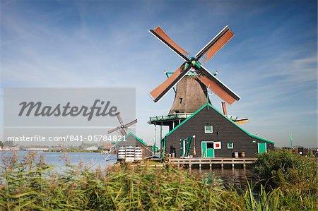 Windmills at Zaanse Schans, Zaandam, Noord Holland, Holland, Europe