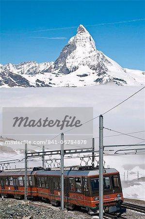 Matterhorn et Gornergrat roue crémaillère, Gornergrat, Suisse, Europe