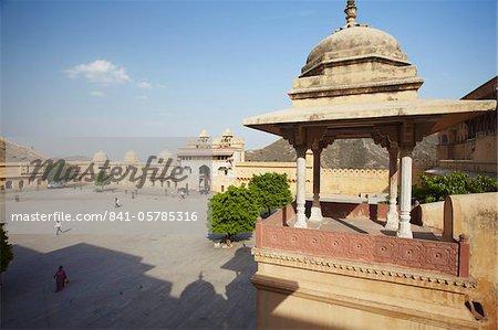 Cour au Fort d'Amber, Jaipur, Rajasthan, Inde, Asie