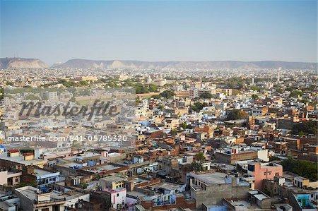Vue sur la ville de Jaipur, Rajasthan, Inde, Asie