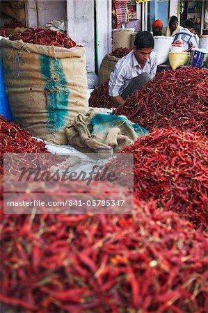 Fournisseur vente de piments au marché, Bundi, Rajasthan, Inde, Asie