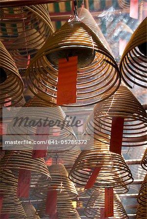 Incense cones hung from the ceiling, Man Mo Temple, Sheung Wan, Hong Kong, China, Asia
