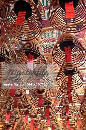 Incense coils, Man Mo Temple, Hong Kong, China, Asia