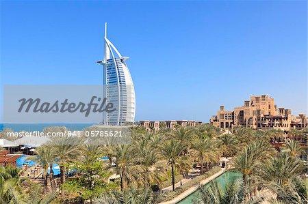 Burj Al Arab viewed from the Madinat Jumeirah Hotel, Jumeirah Beach, Dubai, United Arab Emirates, Middle East