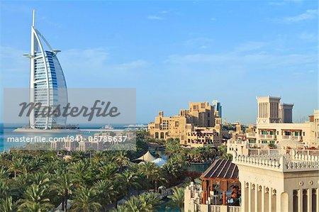 Burj Al Arab, seen from the Madinat Jumeirah Hotel, Jumeirah Beach, Dubai, United Arab Emirates, Middle East