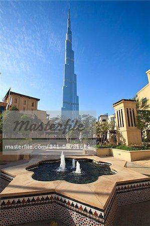 Burj Khalifa, le plus grand homme fait de structure dans le monde avec ses 828 mètres, vue depuis l'hôtel Palace, Downtown Dubai, Dubai, Émirats Arabes Unis, Moyen Orient
