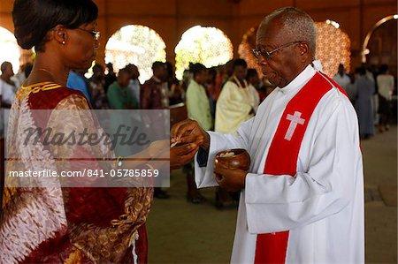 Catholic Mass in Lome, Togo, West Africa, Africa