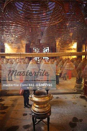 Incense coils in main hall, Man Mo Temple, Hong Kong, China, Asia