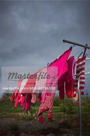 Vêtements à laver ligne, Reykholt, Snæfellsbær, Islande