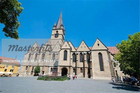 Eglise évangélique dans Piata Huet, Sibiu, Roumanie, Europe