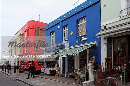 Colourful shops in Portobello Road, famed for its market, Notting Hill, London, England, United Kingdom, Europe