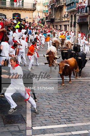 Achte und letzte Encierro (laufen der Stiere), San Fermin Festival, Pamplona, Navarra (Navarra), Spanien, Europa