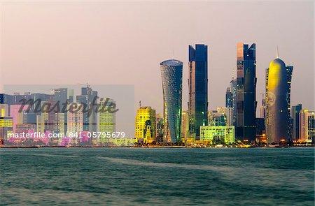 Skyline moderne, Doha, Qatar, Moyen-Orient