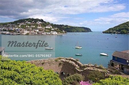 Bayard's Cove Fort and the River Dart estuary in spring sunshine, Dartmouth, South Devon, England, United Kingdom, Europe