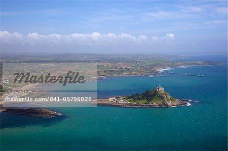 Vue aérienne de Saint Michel de monter, Penzance, péninsule de fin des terres, West Penwith, Cornwall, Angleterre, Royaume-Uni, Europe