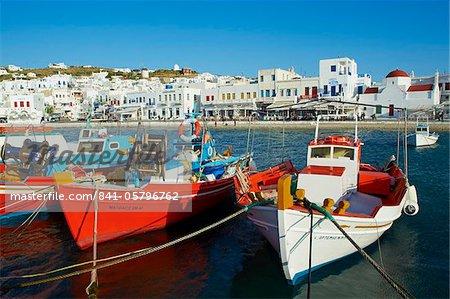 Vieille église de rouge et de port, la ville de Mykonos, Chora, île de Mykonos, Cyclades, îles grecques, Grèce, Europe